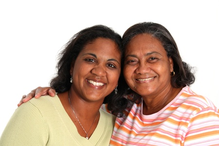 Minority Mother and Daughter Set On A White Background Stock Photo - 13294120