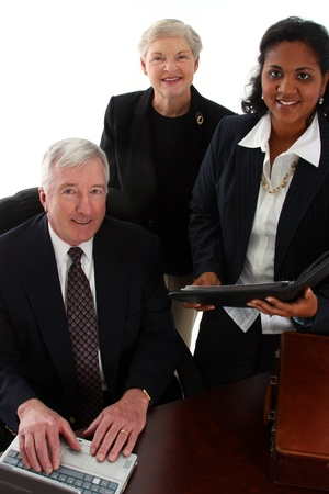 Business team working together in their office Stock Photo - 13298231