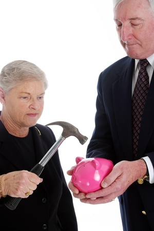Senior Couple Set Against A White Background photo