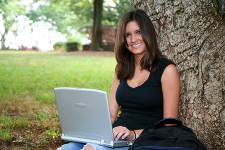 Young woman studying on campus photo