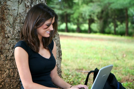Young woman studying on campus Stock Photo - 13317709