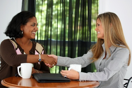 shaking: Two Women Shaking Hands In An Office Stock Photo