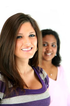 mixed races: Two women on white background Stock Photo
