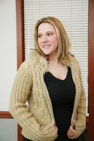 womans: Young caucasian woman with long blond hair