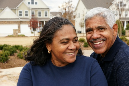 interracial marriage: Family together outside their home