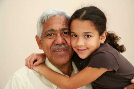 interracial love: Child with her grandfather