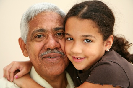 Child with her grandfather photo