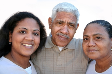 Minority family set against a white background