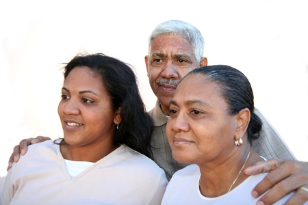 Minority family set against a white background photo