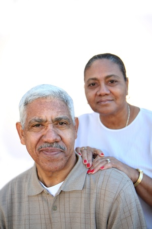 mexican woman: Minority couple set against a white background
