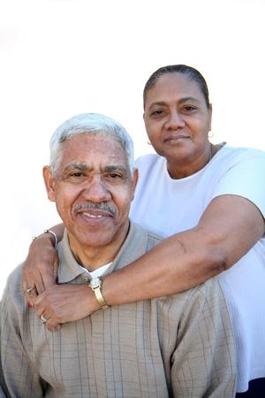 Minority couple set against a white background photo