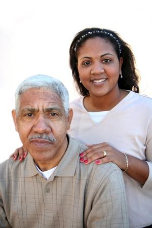 Minority family set against a white background photo