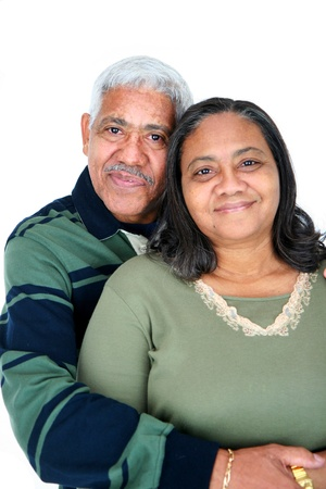 Minority couple set against a white background photo