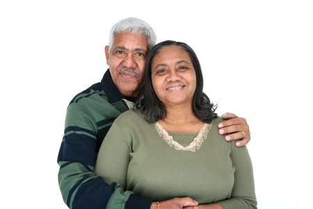 mixed family: Minority couple set against a white background