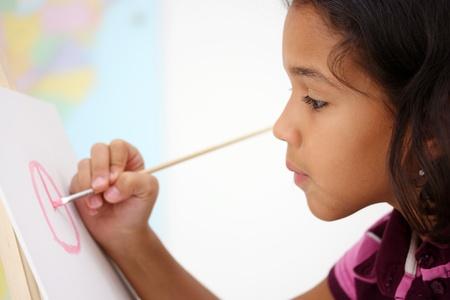 blonde hispanic: Art Student In A Classroom At School