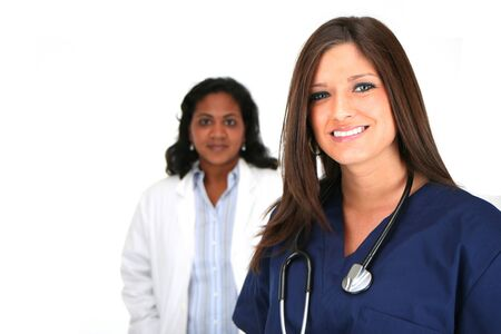 Nurse and Doctor set on white background Stock Photo - 13412986