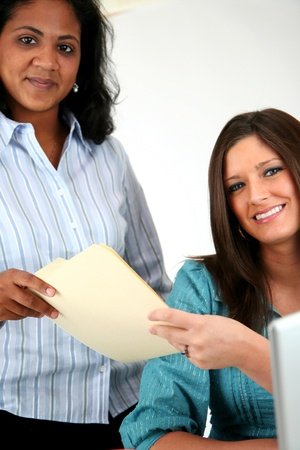 school nurse: Two women at the computer Stock Photo