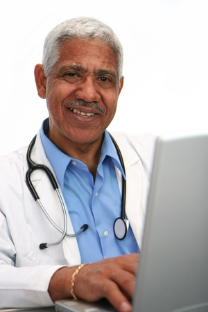 Minority doctor set on white background photo