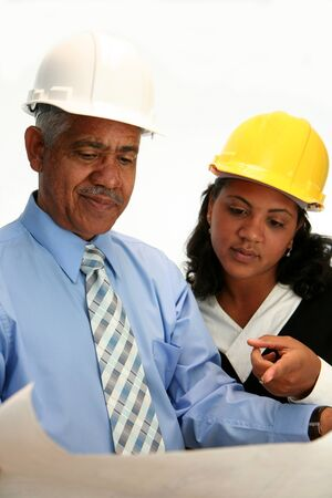 architect: Construction worker on the job Stock Photo