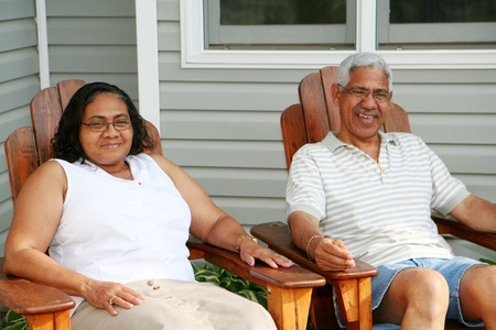 Minority couple at their home photo
