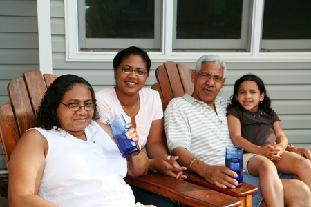 three generations of women: Minority family at their home