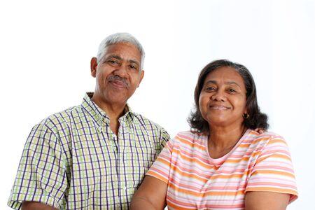 minority couple: Senior Minority Couple Set On A White Background Stock Photo