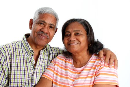minority couple: Senior Minority Couple Set On A White Background Stock Photo