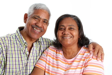 Senior Minority Couple Set On A White Background Stock Photo