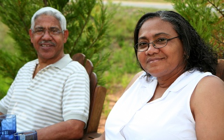 frontyard: Minority couple at their home Stock Photo