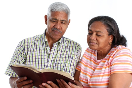 citizens: Senior Minority Couple Set On A White Background Stock Photo