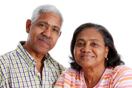 Senior Minority Couple Set On A White Background photo