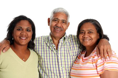 minority couple: Senior Minority Couple With Daughter Set On A White Background