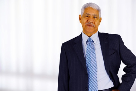african businessman: Senior business man working in his office Stock Photo