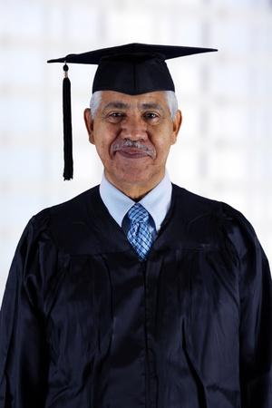 Senior citizen who has graduated from school photo