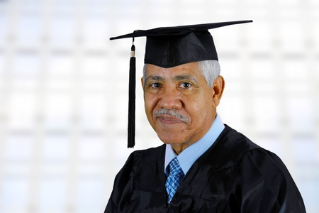 Senior citizen who has graduated from school photo