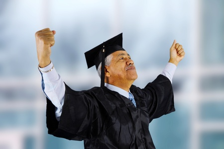 finishing school: Senior citizen who has graduated from school