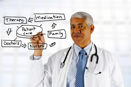 minority: Minority senior doctor working at the hospital