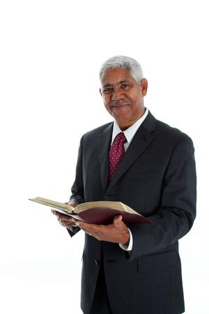 predicador: Pastor de las Minor�as sobre un fondo blanco