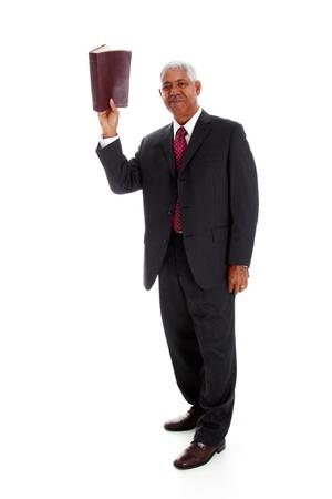 preacher: Minority pastor set on a white background Stock Photo