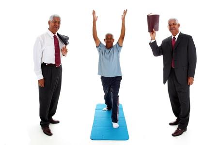 mind body: Minority Man Working On His Body Mind and Spirit