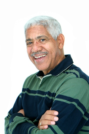 Minority man set against a white background photo