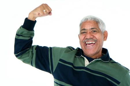 aging american: Minority man set against a white background