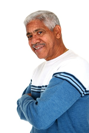 Minority man set against a white background