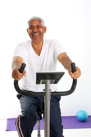 Senior Minority Man Working Out Set On A White Background Stock Photo