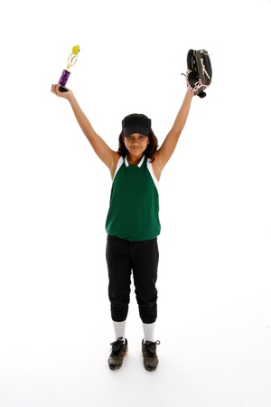 Playing the game of softball with a white background Stock Photo