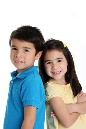 brother and sister: Brother and sister together on a white background