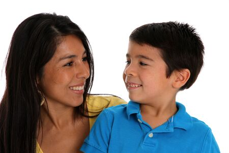 native american woman: woman and son set on a white background