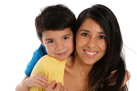 mother and son: woman and son set on a white background