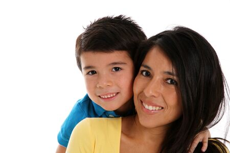 woman and son set on a white background photo