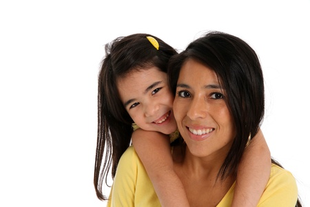 native american woman: woman and daughter set on a white background Stock Photo